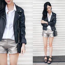 Audrey Tan - Lowry's Farm Silver Shorts, Zara Biker Jacket - Basic Leather