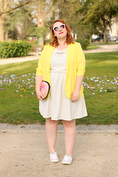 Audrey G. - Balsamik Loose Yellow Jacket, Modcloth Stripped Dress With Bow, Converse White Shoes, New Look Donuts Clutch, Asos Pink Sunglasses - Creamy