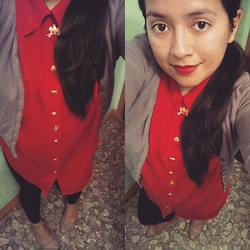 Tania - Thrifted Red Blouse - Red Alert