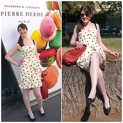 Caliope - Marc By Jacobs Polka Dot Silk Dress, Pretty Ballerinas Ballerina Flats, See By Chloé Leather Bag, Lacoste Sunglasses, Wolford Satin Sheers - In a Macarons Mood