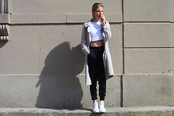 Anne Britt - Zara Trenchcoat, Sacha Shoes Ace Mid White Sneakers, River Island White Race Top - TRENCHCOAT TUESDAY