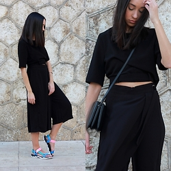 Esther L. - Oasap Top, Oasap Layered Culottes, Zara Crossover Track Soled Sandals, Mango Triobag - MULTICOLOR TRACK-SOLED