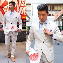 Leo Chan - Bonobos Foundation Cotton Suit, Bonobos Shirt, Sprezzabox Weekend Casual Tie May Edition, Sprezzabox Winners Circle Fashion Pocket Square May Edition, James Mccabe Watch, Nordstrom 1901 Double Monk Strap - Anniversary