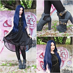 Federica D - Dresslink Black Dress, Jeffrey Campbell Litrane Boots - Witch