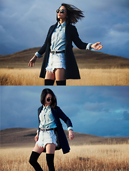Eunice Kim - Forever 21 Chambray Button Up, Vibrant Miu Acid Wash Distressed Shorts, Knit Navy Trench Coat, Sunglass Spot Circle Sunnies, Thigh High Socks, Lace Up Combat Heels - The Calm Before The Storm