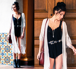 Chelsea Den - Lace Kimono, Etsy Necklace, Vintage Silver And Black Leather Belt, Black Romper, Lace Bralette, Mat & Nat Burgundy Vegan Leather Crossbody Bag - Breathe Me In Like Air