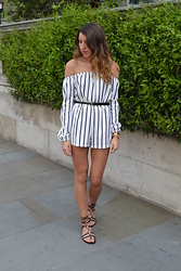 Gemma Talbot - Missguided Playsuit, Asos Sandals - Striped Bardot Playsuit