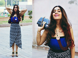 Surbhi Suri - Change 360 Store Ikat Print Dress, Forever New Heels, Mango Clutch, Label Tff Indian Jewellery - Inspired By Ikat