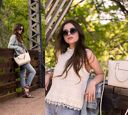 Shelly Stuckman - Coach Prairie, Coach Dannie, Denimocracy Distressed, Kersh Ivory Lace, Old Navy Denim Jacket, Polette Round Sunnies, Coach Keychain - Ivory & Denim