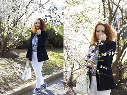 Anna Okonishnikova - Zara Blazer, Tod's Bag, Zara Pants, Zara Blouse, Zara Slip Ons - GIRL IN BLOOM