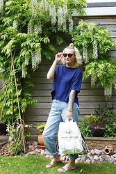 Kate - Ravi Famous Blue Tshirt, Levi's® Boyfriend Jeans, River Island Gold Birkenstocks, Chi Clothing White Backpack - WISTERIA