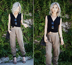 Gigi Lam - T By Alexander Wang Muscle Tee Tank, Asos Cargo Pants - SPRING CARGO