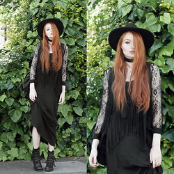 Olivia Emily - Catarzi Wide Brim Fedora, Asos Black Skinny Scarf, Monsoon Fringed Maxi Dress, Similar Lace Cardigan, Ash Footwear Studded Biker Boots - Lace & Fringing II.