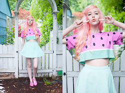Kailey Flyte - Batoko Watermelon Crop Top, American Apparel Mint Circle Skirt, Sun Jellies Metallic Jelly Shoes - Froot