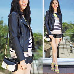 Sherry Lou - Sherry Lou Studio Jacket, Steve Madden Bag, Old Navy Wedge Sandals, Sherry Lou Studio Studded Leather Shorts, Macy's Sweater - Little Pops of Neon