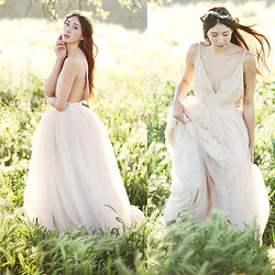 Alyssa Casares - Alyssa Nicole Tulle Gown, Spellbound Crowns Floral Crown - Flight of Fancy