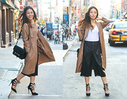 Leah Ho - Proenza Schouler Ps11 Bag, Details On Blog Leather Culottes, Club Monaco Trench Coat, Detail On Blog Lace Up Pumps - NYC Downtown Style
