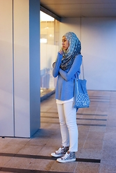 Liyana Aris - Zara Frayed Long Sleeved Tshirt, Avan Lily Denim Bag, Uniqlo Cigarette Pants, Levi's® High Top Sneakers - Bag On A Denim Bag