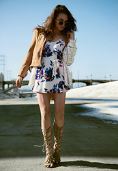 Larissa (Larz) May - Mumu Dress, Free People Sandals, Sam Edelman Jacket - SIXTH STREET BRIDGE & SHOW ME YOUR MUMU
