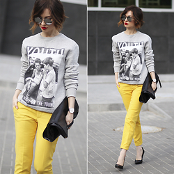 Sonya Karamazova - Zara Pants - YELLOW AND GRAY