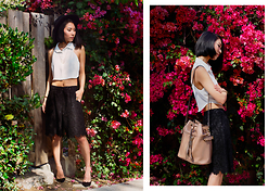 Eunice Kim - Lack Of Color Prism Hat, Nasty Gal Cecilia Crepe Crop Top, Topshop Scalloped Lace Culotte Pants, Nine West Johnny Pump - That's Wavy