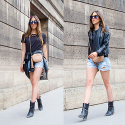 Alison Liaudat - La Redoute Tee, Levis Destroy Short, Vila Leather Jacket, Zara Boots, Gucci Soho Clutch - PAREE