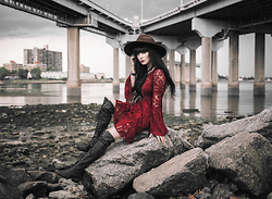 Rachel-Marie Iwanyszyn - Forever 21 Hat, Free People Dress, Free People Boots - RED EYES.