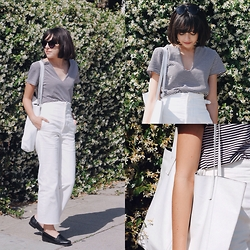 Taylor Balding - Asos Wide Leg Pants, Camp Collection Striped Shirt - Sailor Casual