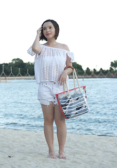 Prudence Yeo - Cotton On White Eyelet Top, Aldo Acrylic Tote - Important Beach Essentials To Pack For A Beach Holiday