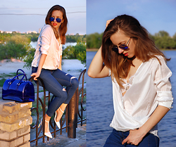 Iren P. - Lalalilo Wrap Front White Blouse, Lalalilo Skinny Jeans With Ripped Knees, Furla Blue Candy Bag, Blue Mirror Aviator Sunglasses, Zara Pointed White Heels, Diy Lace White Bralette - SUNSET ON THE DNIPRO RIVER