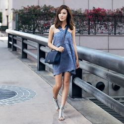 Jenny Tsang - Dress, Sandals - Tiered Chambray