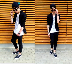 Mateusz Łysakowski - Zara Jacket, H&M T Shirt, Zara Pants, H&M Shoes, H&M Cap, H&M Sunglasses, H&M Bracelet - First one.