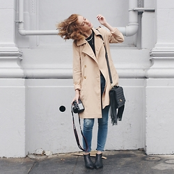 Hannah N - Forever 21 Trench, Gap Sweater, Elle Tarplin Bag, Banana Republic Jeans, Steve Madden Boots - With the mist