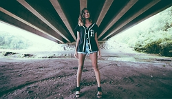Jasmine M - Jersey, High Waisted Shorts, Cuffed Heels - Teamed Up