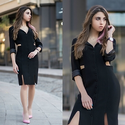 Cansın Ekşi - Designer Black Dress, Designer Cotton Pink Stilettos, Daniel Wellington Watch - Black Widow