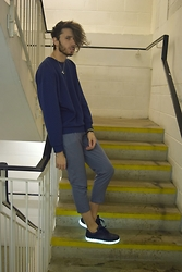 Anthony Lyngos - Topman Glow Navy Trainers With Lights, Topshop Tie Side Takashi Wool Trousers By Boutique, Topshop Navy Sweater By Boutique, Topshop Rhino's Head Necklace, H. Samuel Solid Silver Bangle - Let It Glow