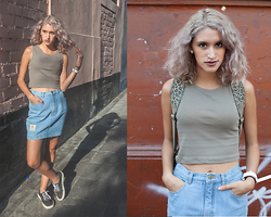 Andrea Chavez - Sweet Jungle Denim Skirt, Camel Top, Levi's® Classic Levi's - Denim Skirt & Camel top