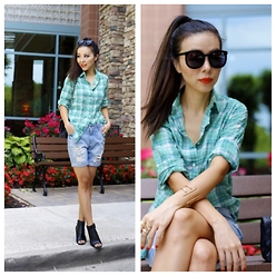 Sasa Zoe - 30% Off With Code Shopnow Shirt, Shorts, Sunglasses, Bracelet, Booties, Bag - GREEN PLAID