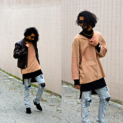 Tah ∆li - Brooks Brothers Vintage Motorcycle Jacket, Sexsells Vintage Shirt, Adyn Black Long Sleeve Shirt, Rober Distressed Jeans, Mute Kill Heel Suede Boots, Tom Ford Vintage Cat Eye Shades, Boy London Vintage Wristwatch - A PitfaLL for her PLeasure
