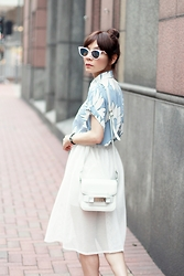 Prisca E. - Fendi Cat Eye Sunglasses, Mesh Midi Skirt - Periwinkle
