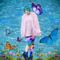 Isabel Hendrix - We Love Colors Splash Tie Dye Tights, Holographic Moon Choker, Pastel Zigzag Choker - ACT LIKE A KID