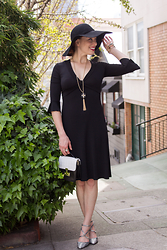 Caity Shreve - Bcbg Little Black Dress, Topshop Floppy Boho Hat, Diane Von Furstenberg Black & White Mini Bag - Ladylike Weekends
