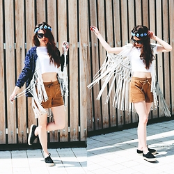 Paulina Bednarek - H&M Croptop, H&M Shorts, H&M Espadrilles, H&M Jacket, Newlook Headband, Zerouv Sunglasses, Zara Bag - Hot hot in here