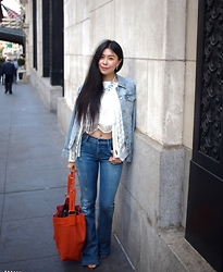 Goodbadandfab Girl - Sabo Skirt Tank, By Julie Top, Levis Jacket, Goldsign Jeans, Sole Society Sandals, Vince Camuto Purse - Denim on Denim in SF