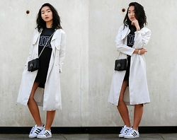 Konstanzia and Atusa Lechler - Adidas Dress, Zara Trenchcoat, Zara Purse, Adidas Sneakers - FORGOTTEN PANTS