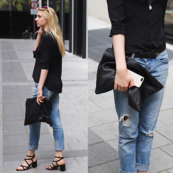 Eleonore Marie Stifter - Cheap Monday Boyfriend Jeans, & Other Stories Sandals, American Apparel Clutch, Zara Silk Button Up Shirt, Mango Sunglasses, Apple Iphone Case, & Other Stories Necklace - Basic Story