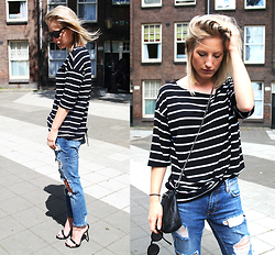 Anne Britt - Zara Worn Jeans, Choies Striped Shirt, Ace And Tate Sunglasses - STRIPED CLASSIC