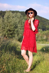 Maria Station - Dressgal Dress - Red crochet dress