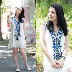 Emel Acar - Sheinside Dress, Oasap Flats - Boho Chic