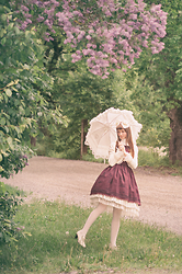 Maiju Laine - Baby, The Stars Shine Bright Merry Pagota Umbrella, Baby, The Stars Shine Bright Headbow, Innocent World Millefeuille Bolero, Innocent World Birdcage Jsk, Innocent World Chiffon And Lace Petticoat - International Lolita day: Lilac tree
